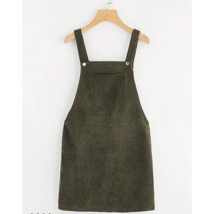 Dark green overall dress